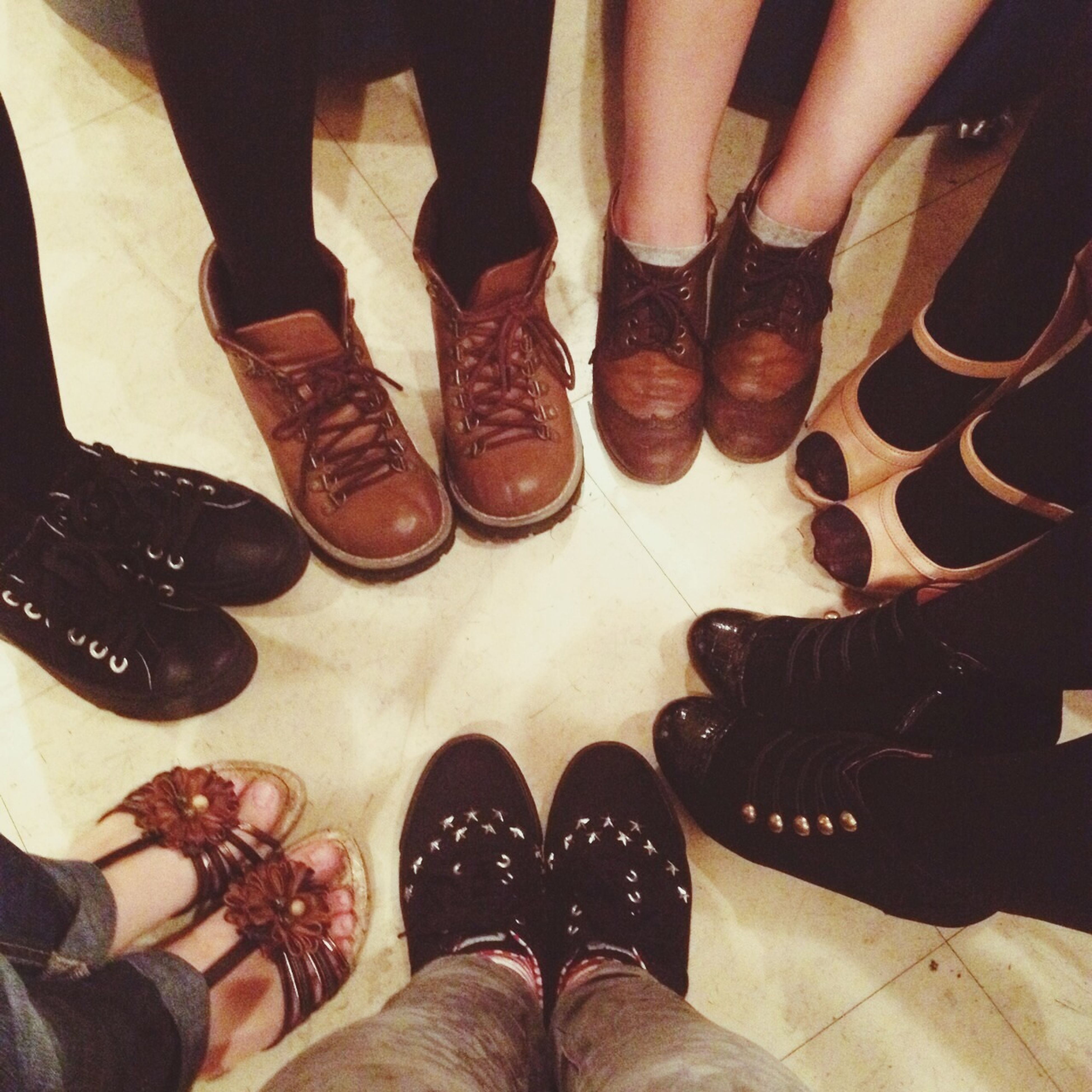 low section, person, shoe, personal perspective, human foot, standing, lifestyles, footwear, indoors, men, leisure activity, high angle view, togetherness, part of, directly above
