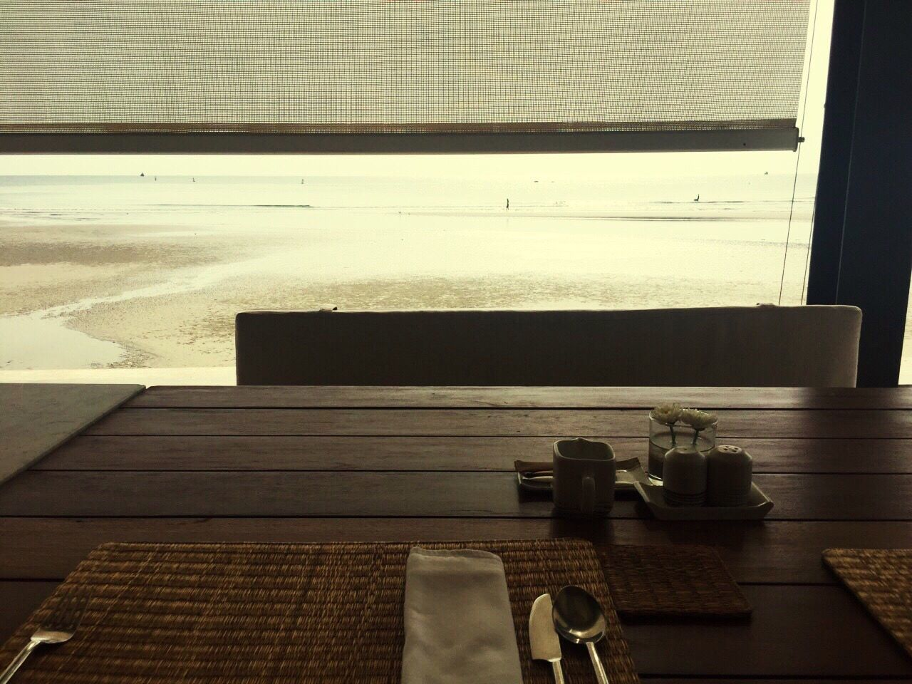 table, indoors, no people, window, sea, day, water