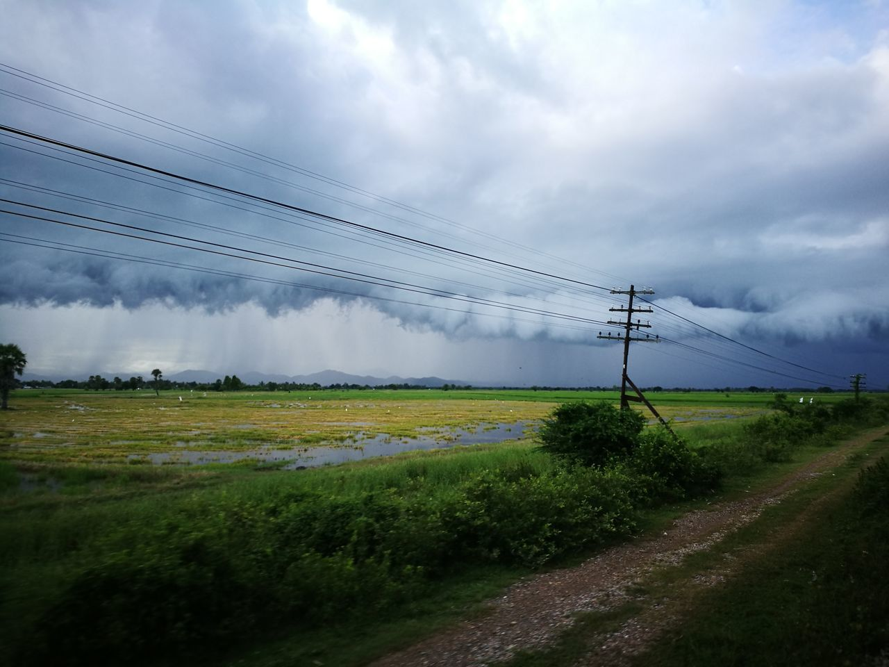 Cloud - Sky Rural Scene Field Cable Agriculture No People Beauty In Nature Landscape Outdoors Day Electricity  Grass Sky Nature Technology Telephone Line Freshness Irrigation Equipment Textured  Backgrounds Summer Stom