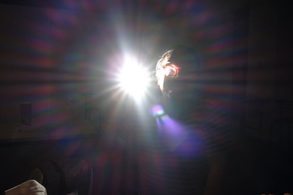Lens Flare Illuminated One Person Indoors  Close-up People One Man Only Only Men