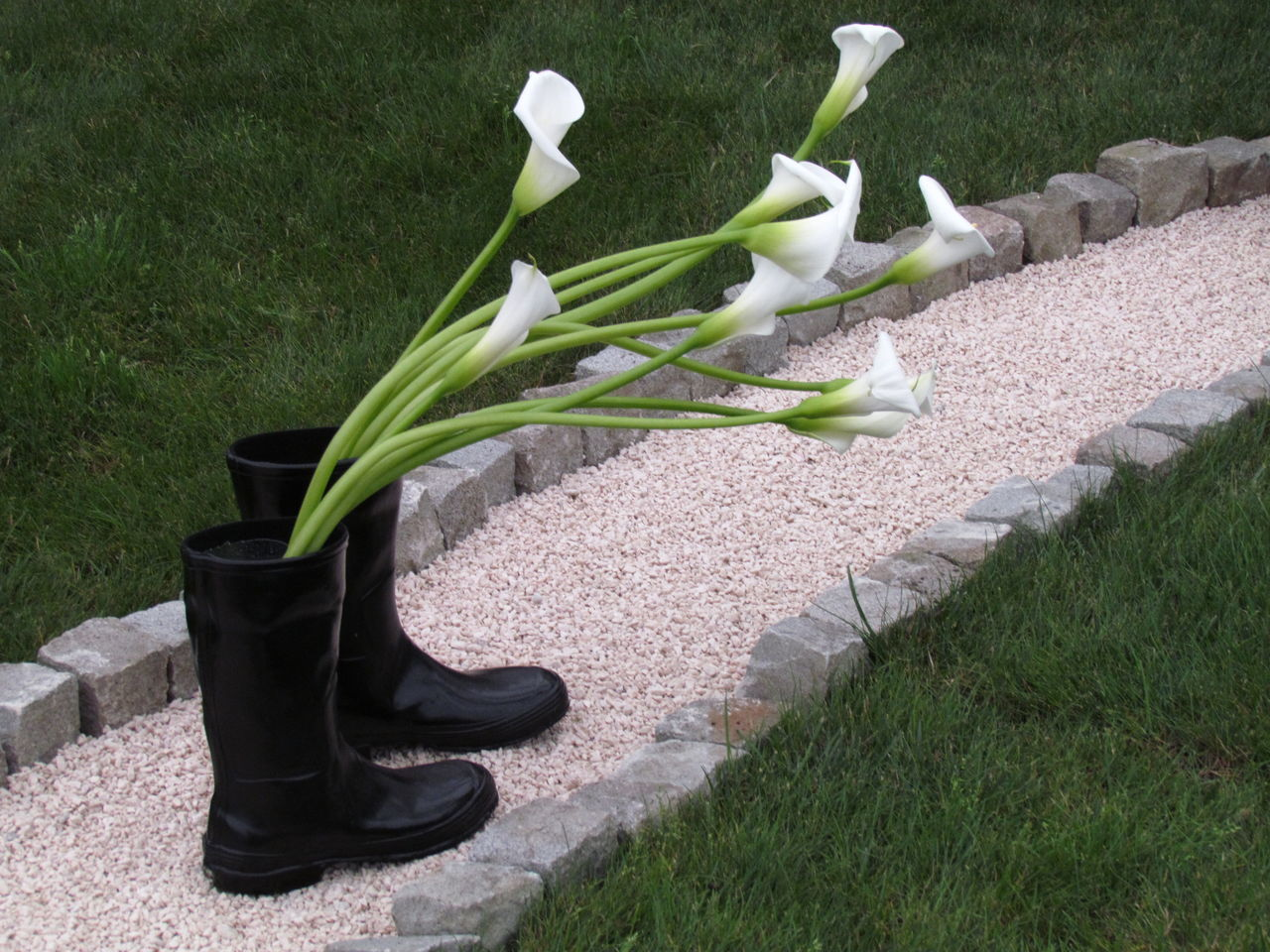 Art Boots Day Flower Flowers Grass Green Color No People Outdoors Rubber Boots
