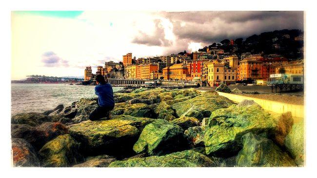 Liguria Seaside Searocks Sea And Sky Genova Makingphotos Street Photography Young Photographer Girl Photographer Lungomare Pegli Pegli City And Nature Citycolours