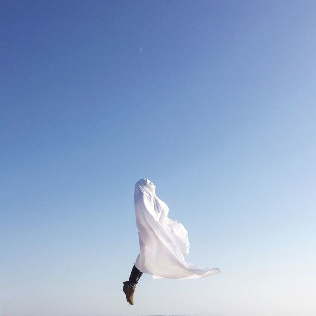 Floating 👻 Showcase: November Simplicity Faceless Portrait Jumping Jump Levitation Ghost Minimalism Minimalobsession Minimal Minimalpeople White Blue Sky Greece Art Is Everywhere TCPM BYOPaper!