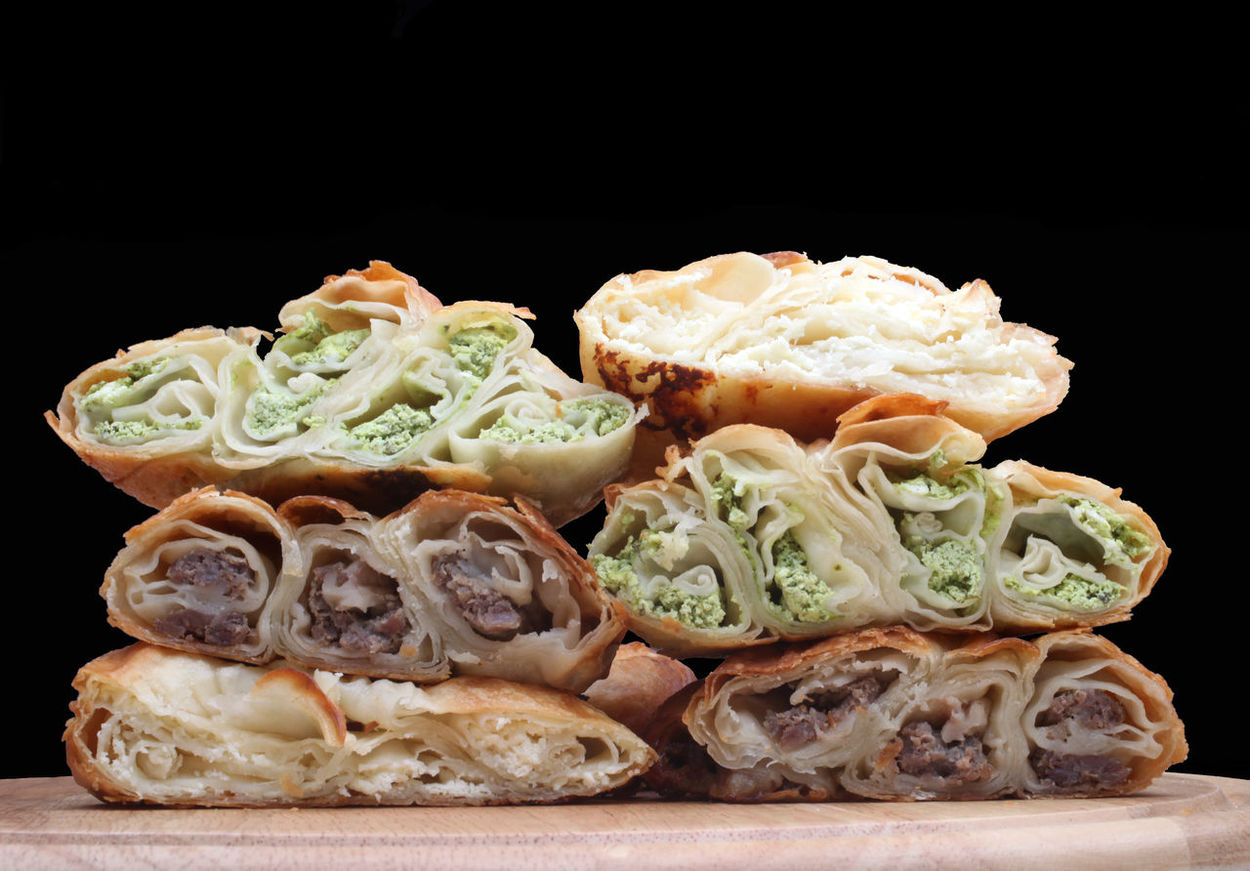 Burek pie with meat, cheese or spinach Burek Balkan Appetizer Bake Bakery Cheese Cuisine Culinary Delicious Food Freshness Gourmet Meal Meat Nutritious Pastry Pie Pita Roll Sliced Snack Spinach Taste Tasty Trencher
