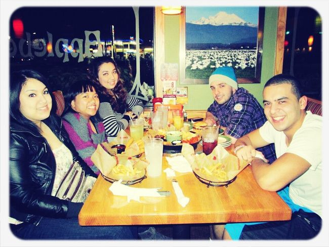 our group finally reunited after almost 2yrs!! best friends for life :) <3 Love Smile Laughing Memories Best Friends At Applebees Dinner Food