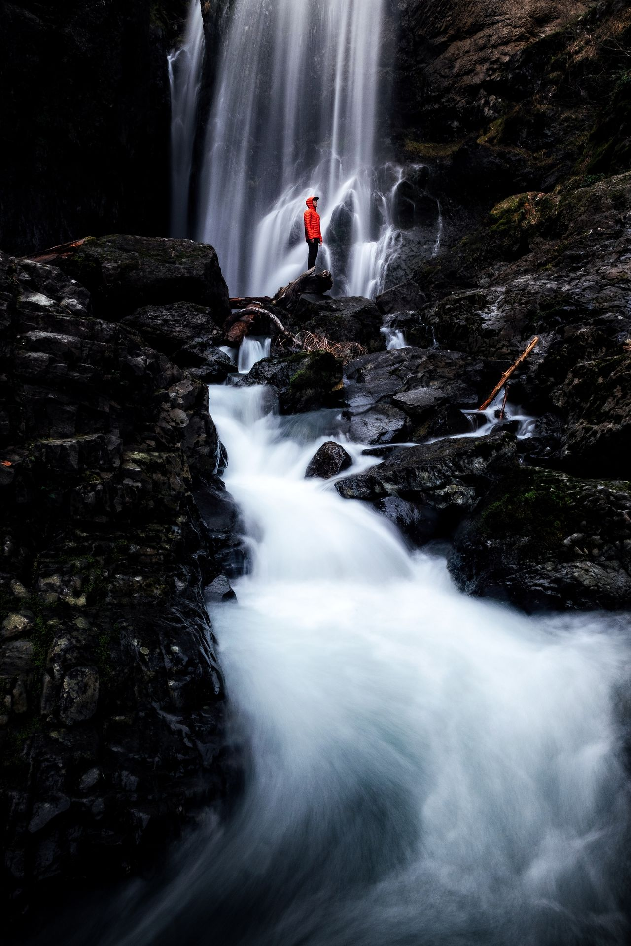 Rush Waterfall Nature Beauty In Nature One Person Outdoors Motion Rock Climbing People Water PNW Tranquil Scene Landscape Tourism Travel Destinations Scenics Adventure Vista Finding New Frontiers Miles Away