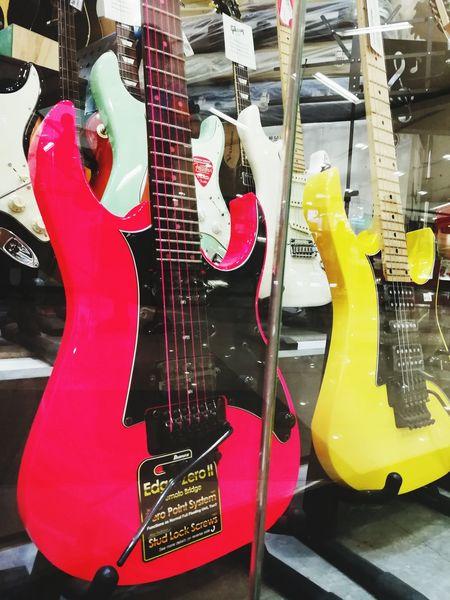 White Background Musician Instrument Man Made Yellow Dark Pink Guitar Indoor