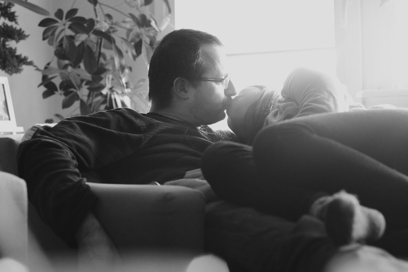 Bed weather and some cuddles. The moment asked for it. So we set the timer on. I even painted this photo of us together. Always Be Cozy Black And White Black And White Photography Cuddles Polskiego Filipina Interracial Love Mixed Couple