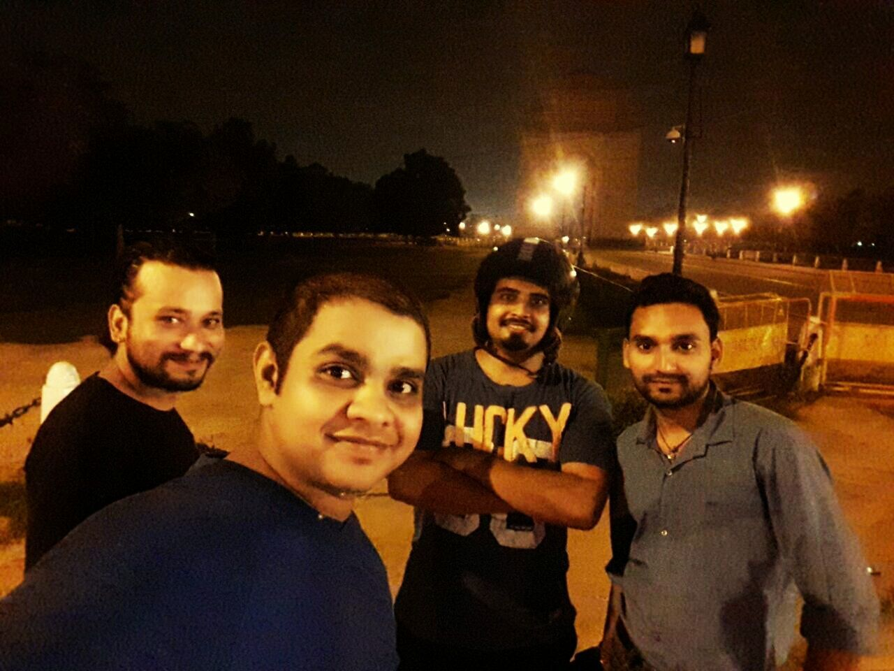 Nightphotography Friendship Smiling Enjoyment Bikers Brotherhood Mc Young Adult Friends Naughty But Nice India Gate In Delhi India Night Roamer