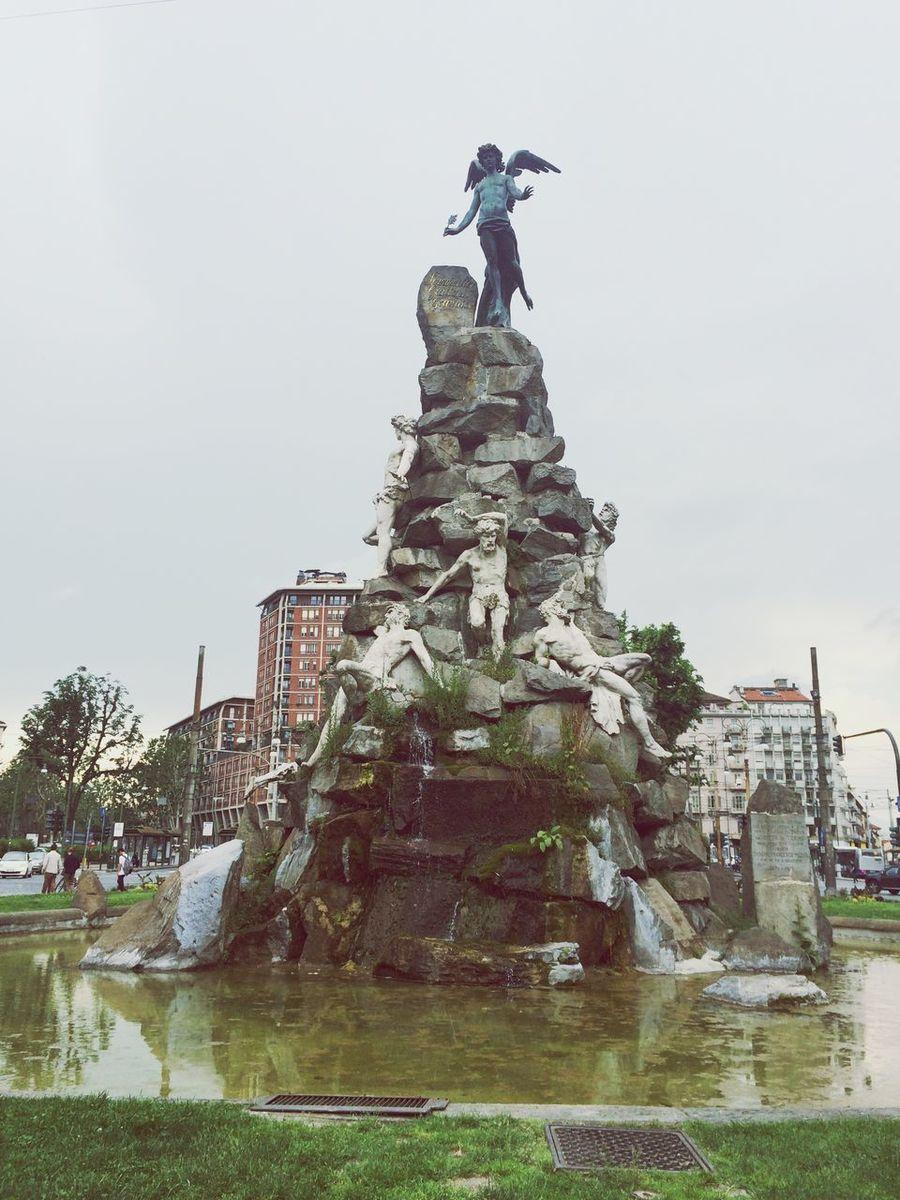 Frejus fountain at Piazza Statuto. Piazzastatuto Frejus Lucifer