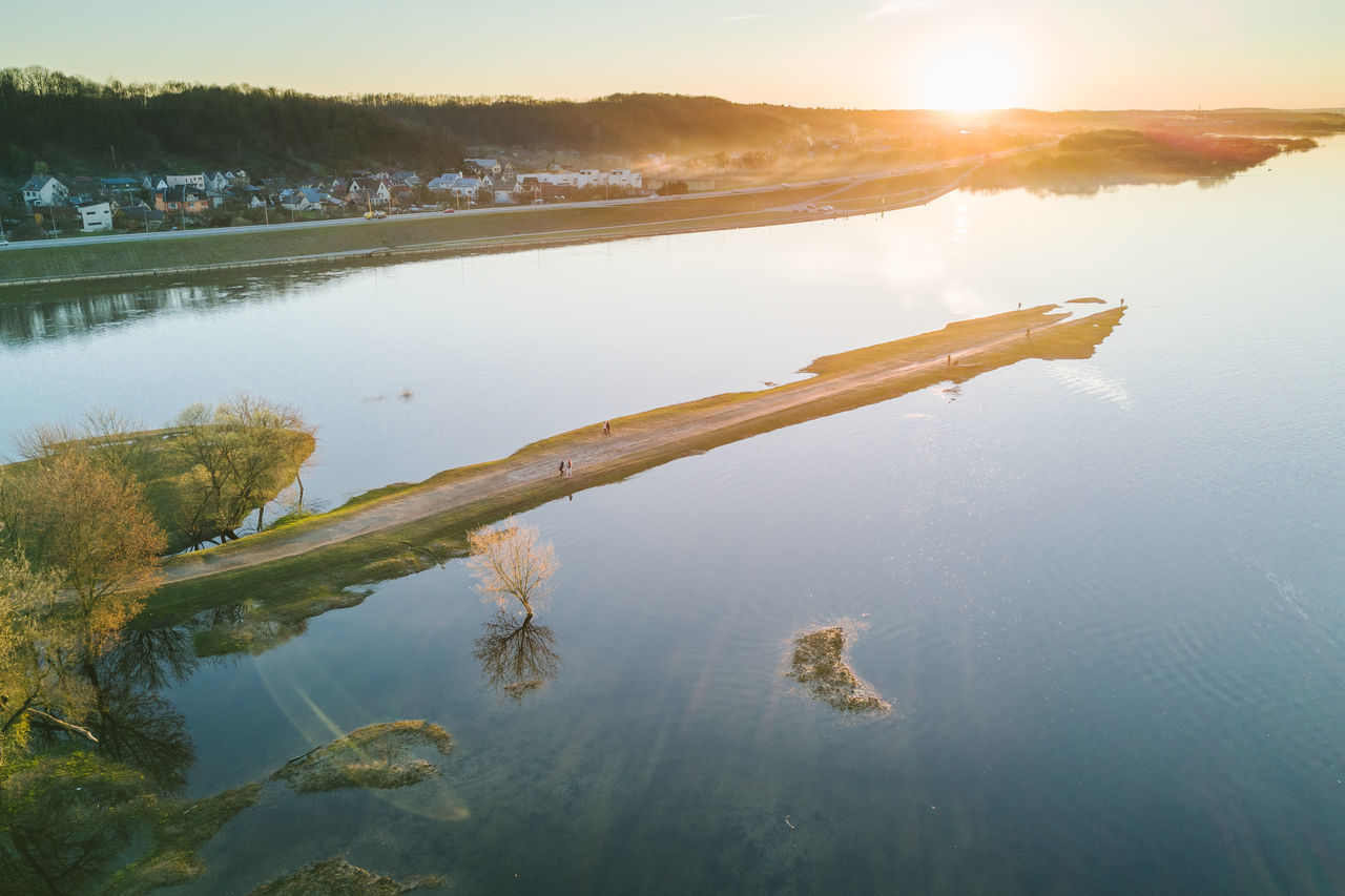 Confluence of two rivers Nemunas and Neris Aerial Shot City Confluence Drone  Europe Lietuva Mavic Mavic Pro Nemunas Neris Old Town River Riverside Spring Spring Flooding Sunset Water