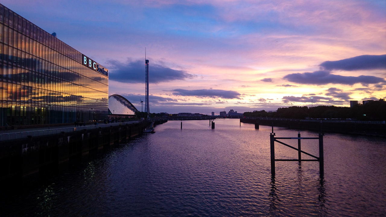 Clyde Sunset Sunset Water Reflection Glasgow  Clyde Pacificquay Sse Hydro SECC Scotland Tranquility Sky First Eyeem Photo
