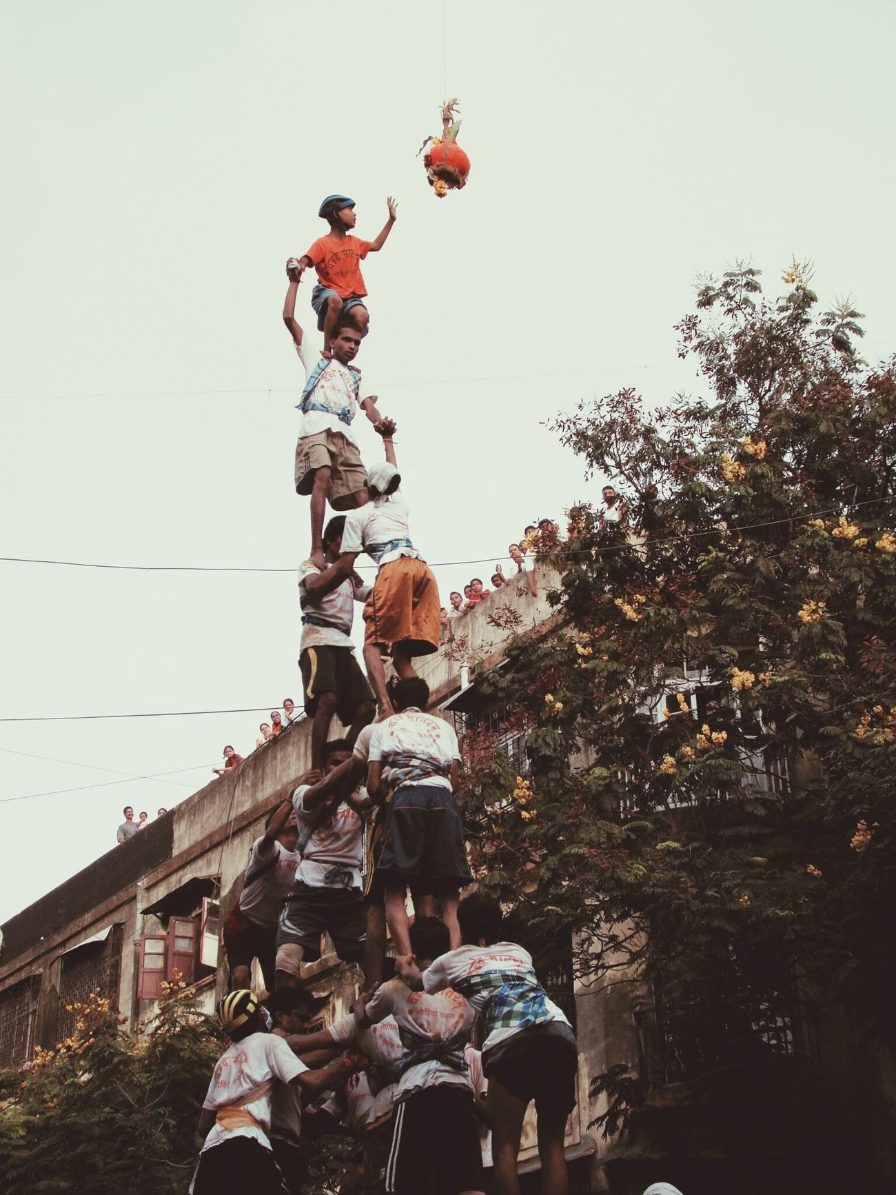 Bombay Tourists Dahi Handi Featival Krishna Human Towers Bombay Mixed  Mumbai
