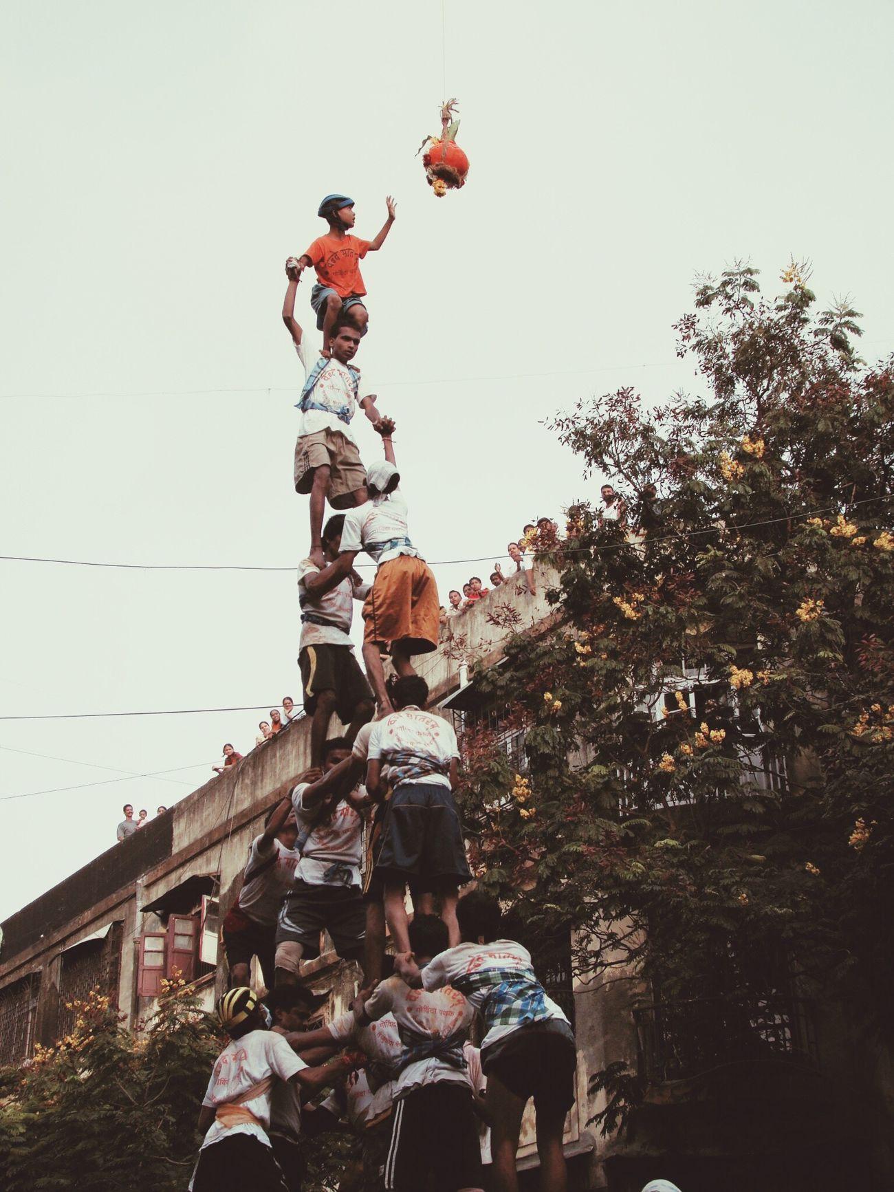 Bombay Tourists Dahi Handi Featival Krishna Human Towers Bombay Mixed  Mumbai