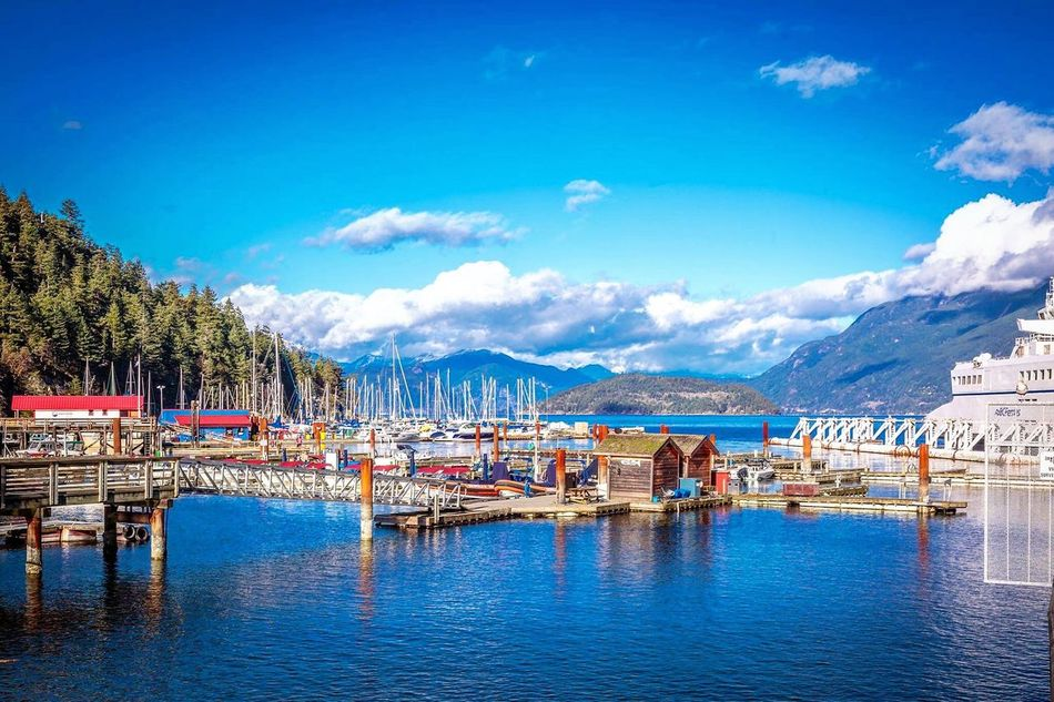 Canada Horseshoe Bay Vancouver BC Boats⛵️ Ocean Sea Side Waterfront Ships⚓️⛵️🚢 Colorful Mountain View Beautiful View Beautiful Nature Beachphotography Blue Sky Clouds And Sky Sunlight ☀