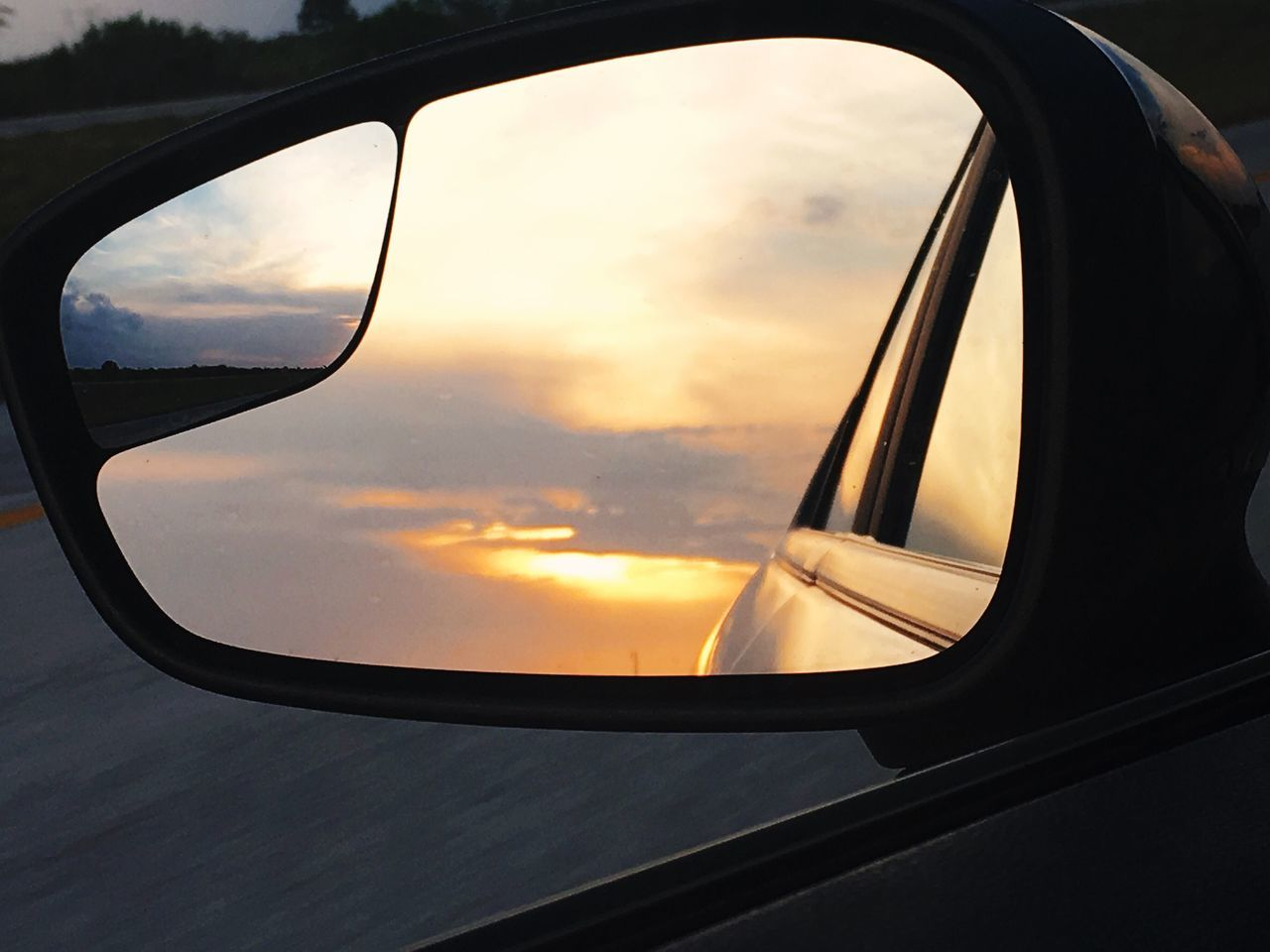 Rearviewmirror Sunset MeinAutomoment The Journey Is The Destination On The Way Home