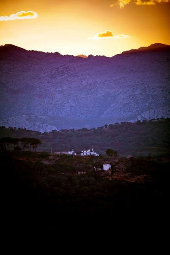 Mountain Sky Sunset Scenics House Mountain Range Cloud - Sky No People Moody Sky SPAIN Andalucía Ronda