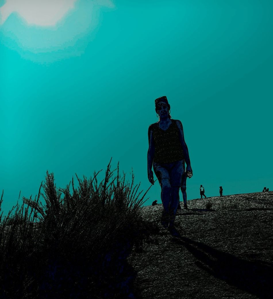 Silhouette One Person Nature Outdoors Outline Monochromatic Photography Noirphoto Landscape Surrealist Art Silhouette Mysterious Surreal Depth Of Field Focus On Foreground Sky Plant Focus On Shadow