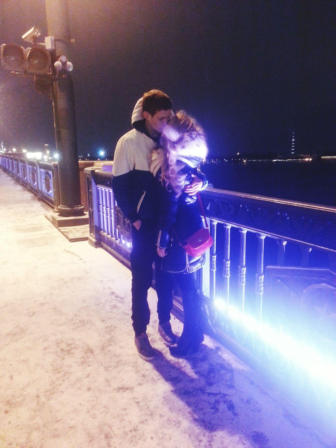 Санкт-Петербург река мост остров крепость пейзаж город Ночь любовь