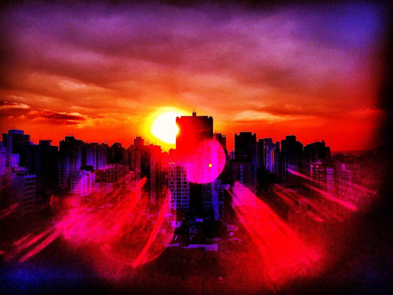 SAO PAULO BRAZIL AUTUMN Beauty In Nature City City City Life Cloud Cloud - Sky Dramatic Sky EyeEm Team Glowing Illuminated Lens Flare Modern Multi Colored Nature No People Orange Color Outdoors Scenics Sky Sun Sunbeam Sunset Urban