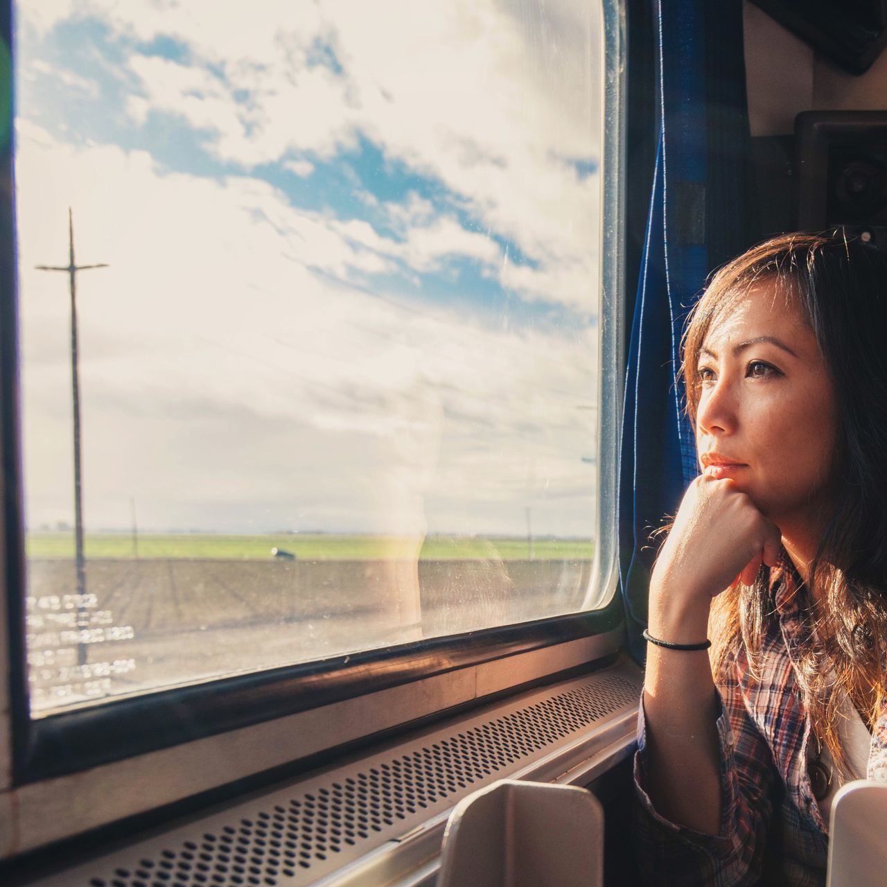On a train watching scenery Travel Train Woman Asian  Adventure Daydream Watching Happy Content Excited Traveling