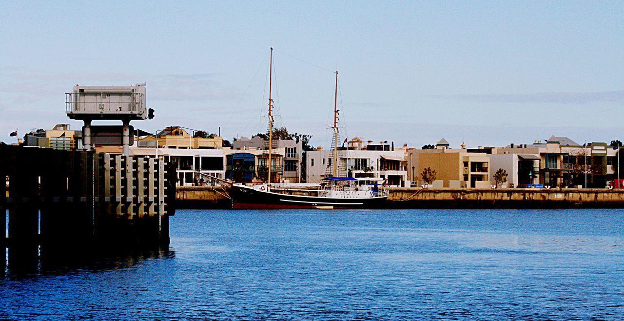Inner habour port Adelaide Australia Skipper Sailing Boat Buildings Moored Boats River