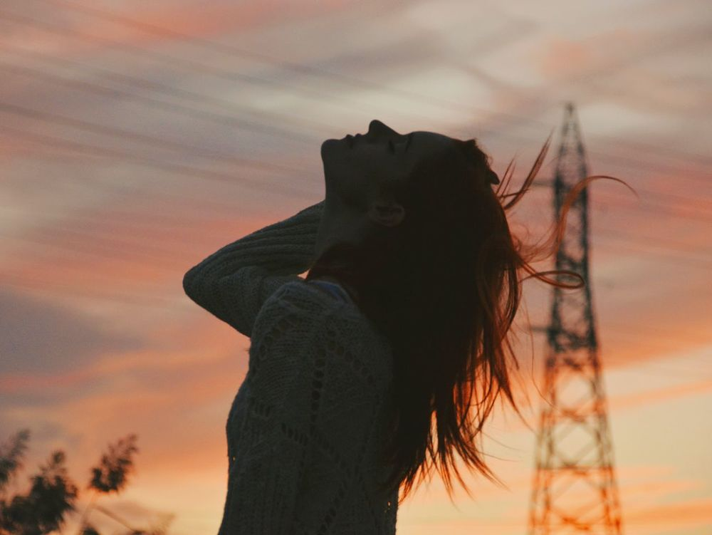 Wind in your hair. People And Places Sunset Silhouette Sky Cloud Nature Cloud - Sky Beauty In Nature Profile Ginger Redhead Red Lips Essence Beautiful Peace Frekles Colorful Campvibes Beauty In Nature Wanderlust Bohemian Portrait Mountain Naturelovers Goodvibes