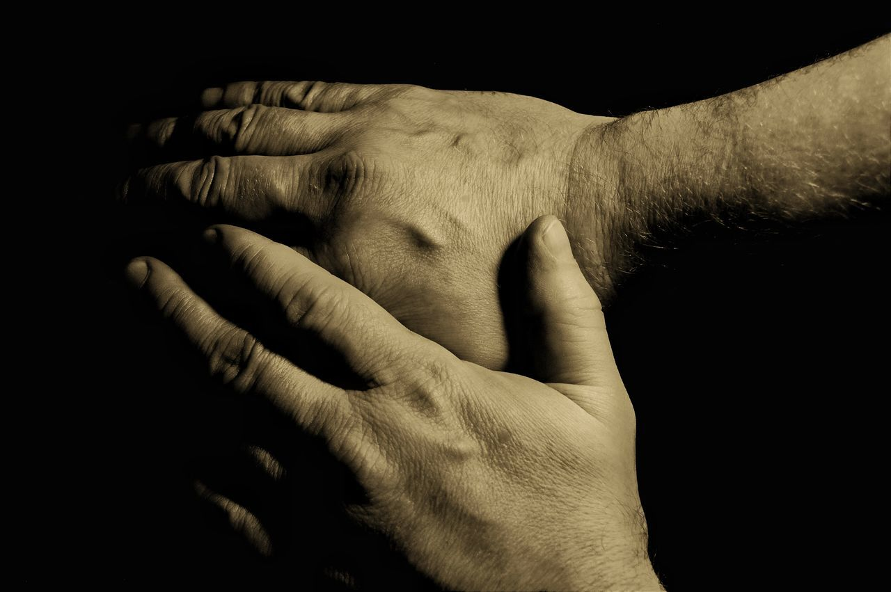 Human Hand Human Body Part Touching Close-up Togetherness Black Background Separation Sepia Toned Sepia_collection Sepia Photography Sepia Black Background Studio Shot