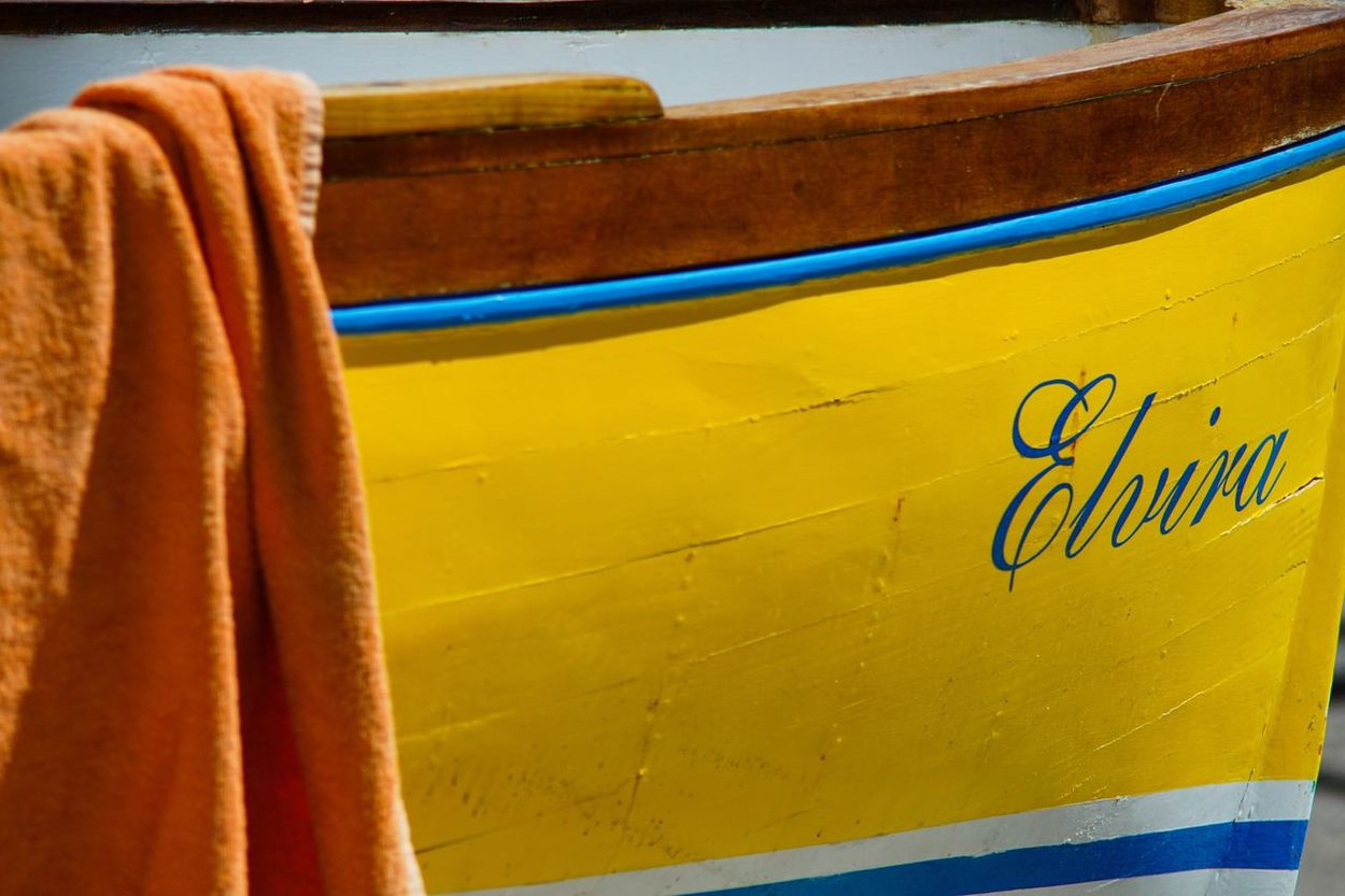 Paint The Town Yellow Yellow Text Day No People Close-up Outdoors Boat Rowing Elvira