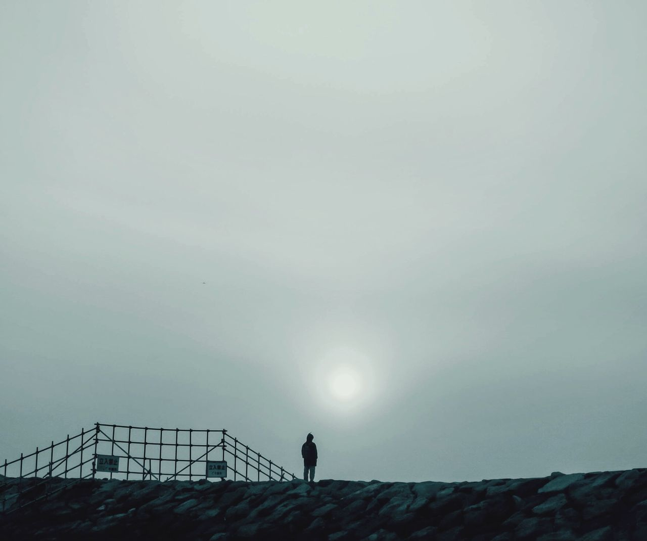 Low Angle View Of Man Standing On Hill Against Sky