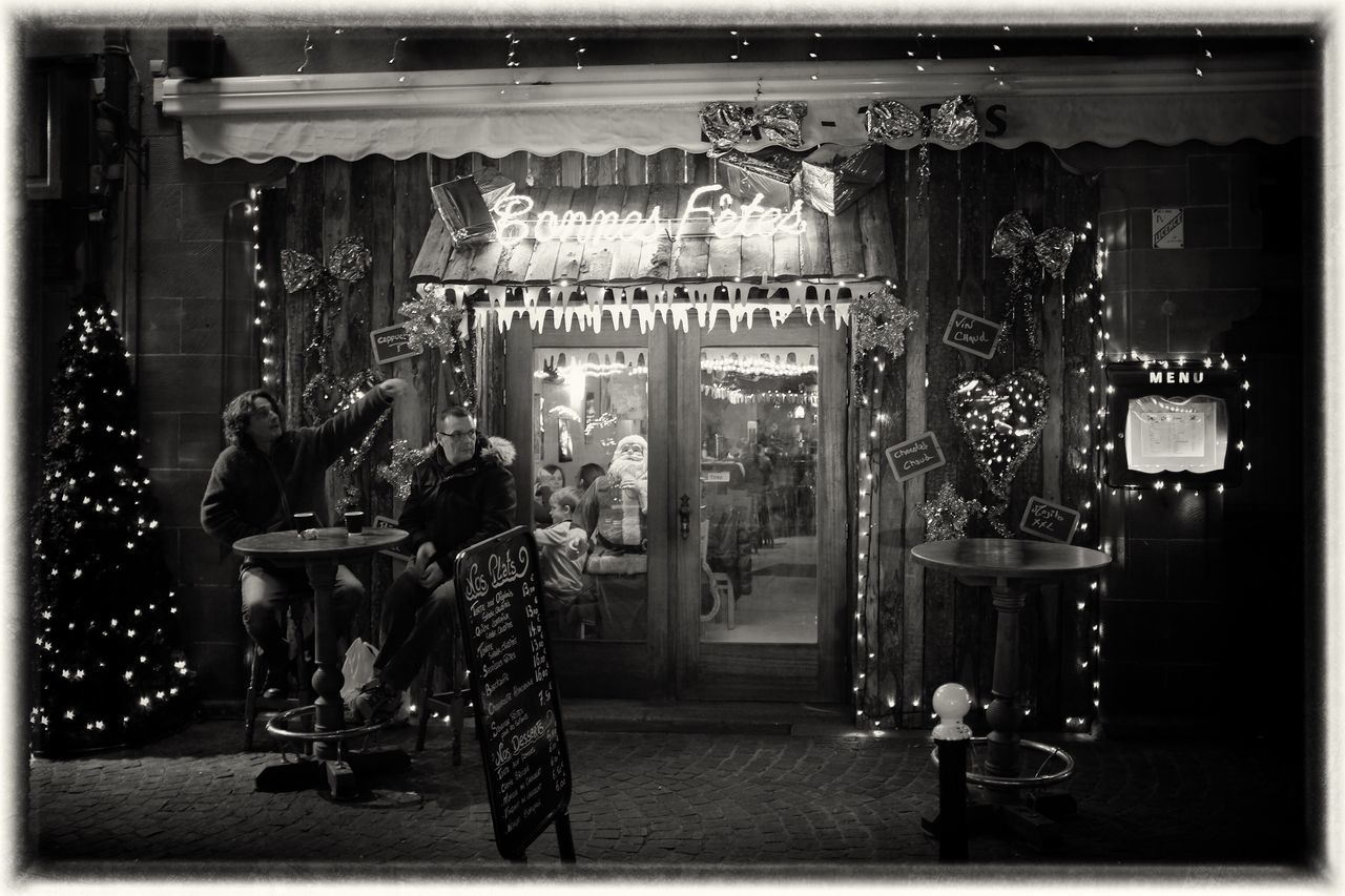 Bonnes Fêtes Illuminated Christmas Decorations Streetphoto_bw Streetphotography Film Noir Christmas Around The World Up Close Street Photography Black & White Happiness Colmar Alsace Friendship