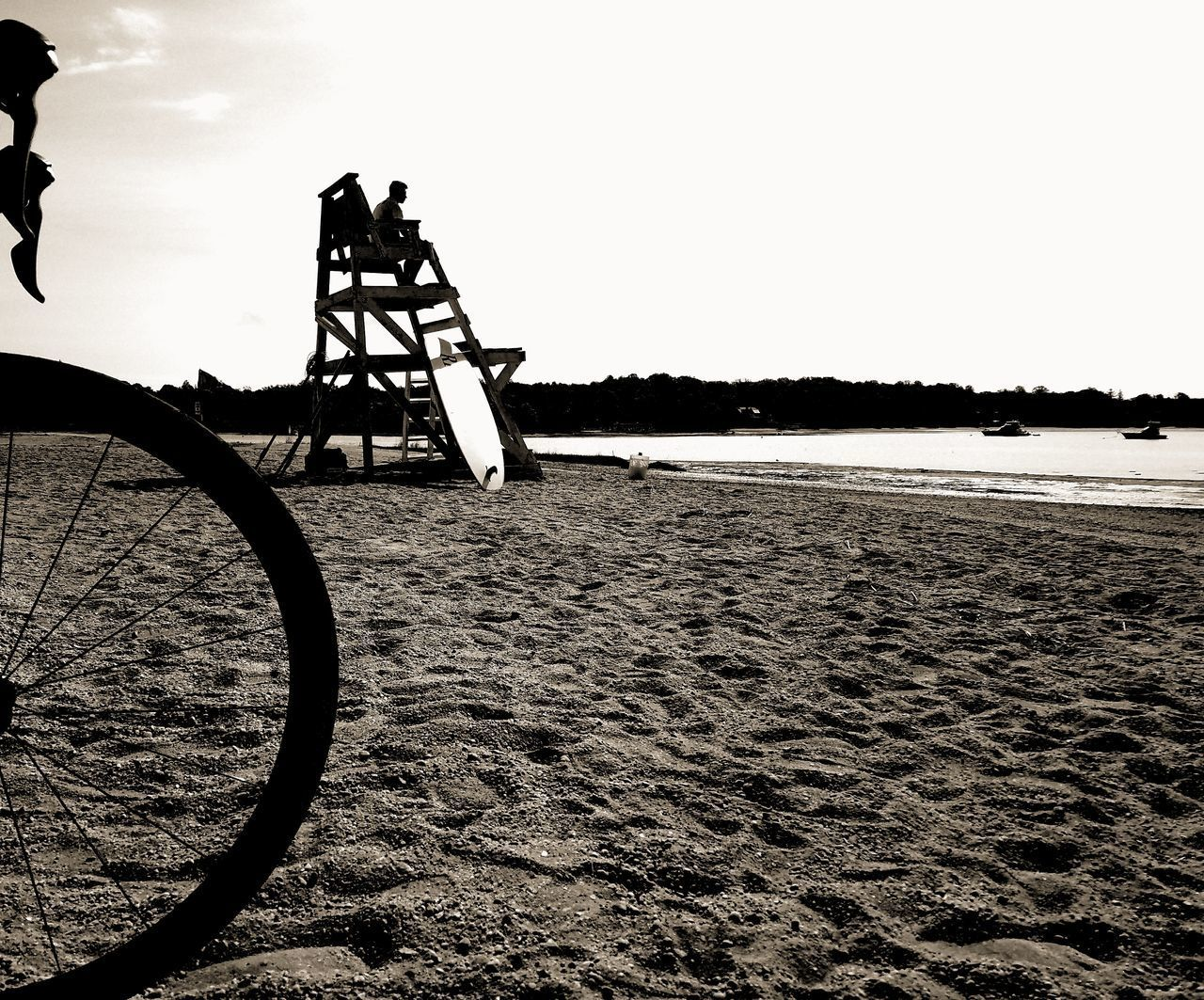Silhouette Outdoors Bike Road Bike Beach Lifeguard Tower Lifeguard  Ocean Black And White Water