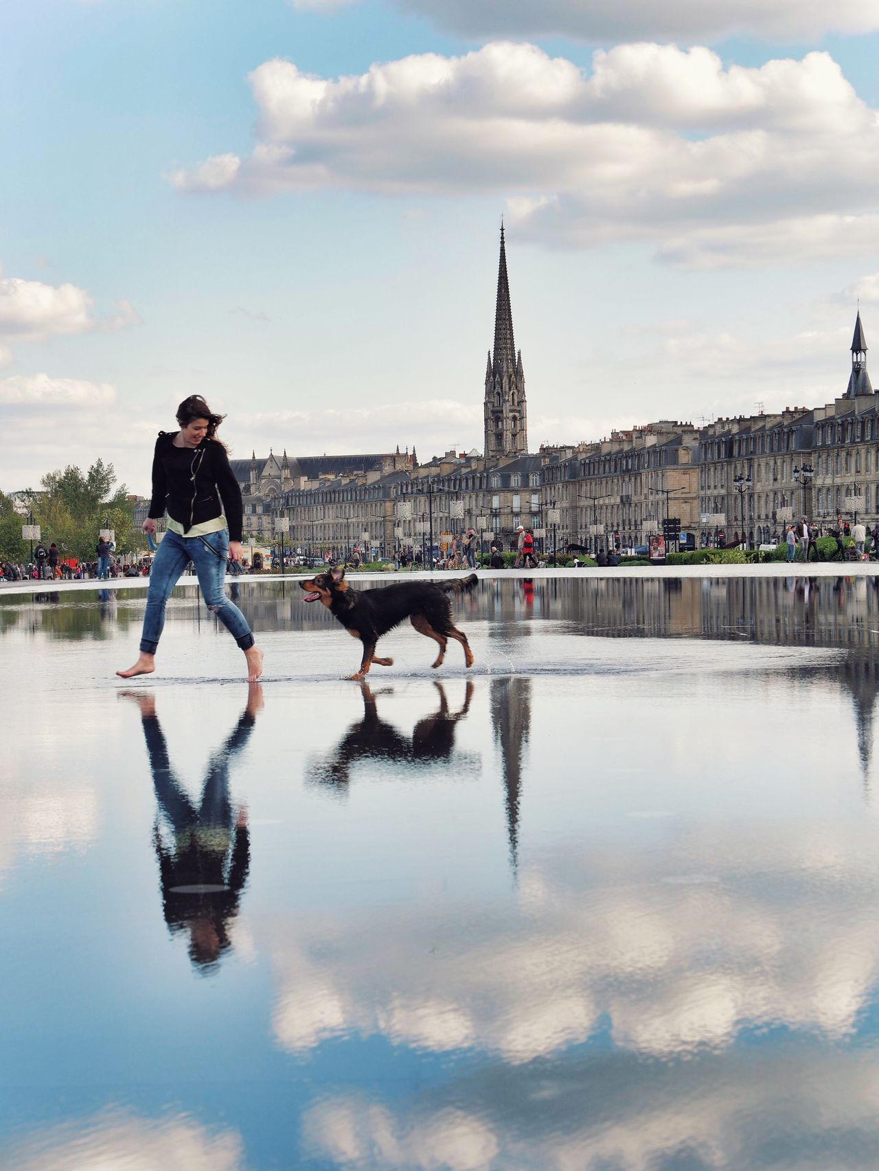 Beautiful stock photos of hunde, water, reflection, real people, sky