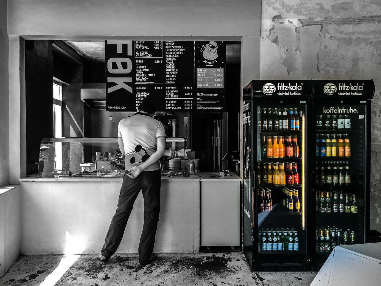 Blackandwhite Colorsplash Counter Day Fok Fritz-kola Ordering Food Shop Snack Bar Store Vending Machine