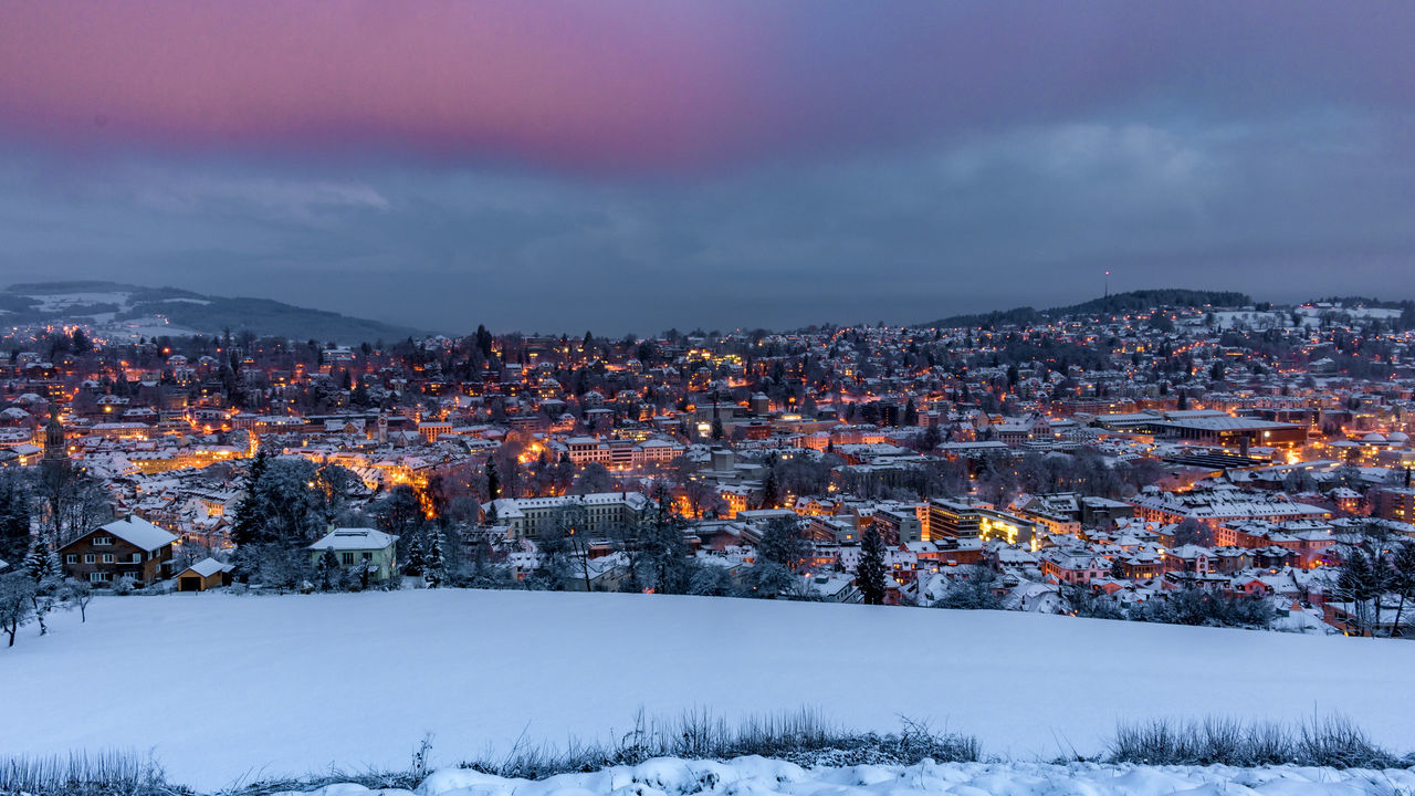 A snowy morning in Sankt Gallen! Beauty In Nature Building Exterior Burning Light Calmday City Cityscape Cloud - Sky Discover Your City Dreamy Landscape Mood Morning Morning Light Morning Sky Morning Walk Outdoors Sankt Gallen Sanktgallen Silent Snow Snow Scene  Snowcovered Winter Wonderland