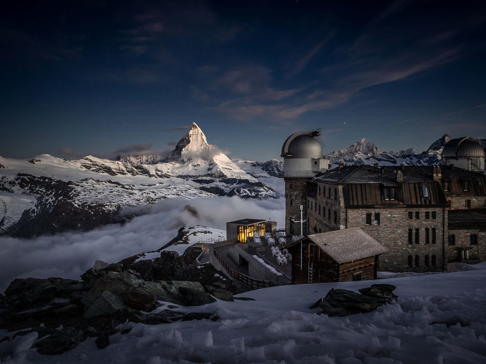 Berge Gornergrat Hotel Matter Moon Moonset Mountain Mountain Hotel Night Nightphotography No People Outdoors Peak Snow Switzerland Wallis Winter Zermatt EyeEmNewHere