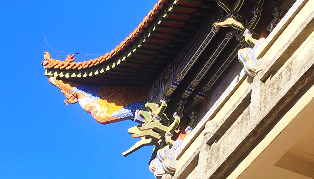Chinese traditional architecture design 榫卯 Architecture Built Structure Low Angle View Clear Sky Blue Spirituality Day Sunlight Travel Destinations Tradition Chinese Art Dade Temple
