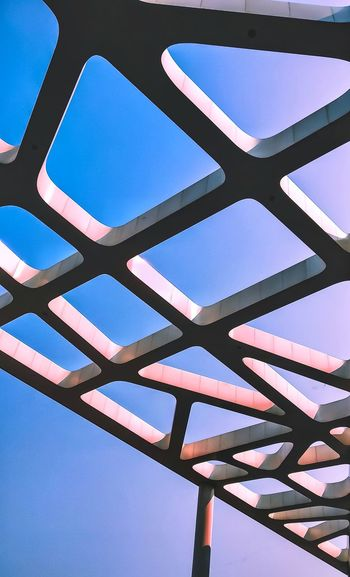 People's personalities, like buildings, have various facades, some pleasant to view, some not Shine Bright Colors Sky Patttern Shotonmia1 Low Angle View Bridge - Man Made Structure Sky No People Day Blue Outdoors Clear Sky Architecture Close-up