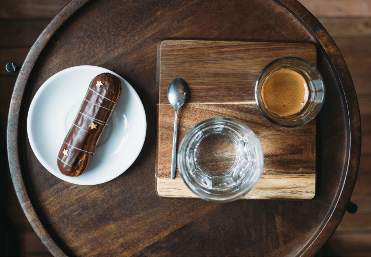Breakfast Cafe Close-up Coffee Delicious Espresso Food Food And Drink Food Photography Glass Glass - Material High Angle View Indoors  Morning Natural Light No People Spoon Table Wooden