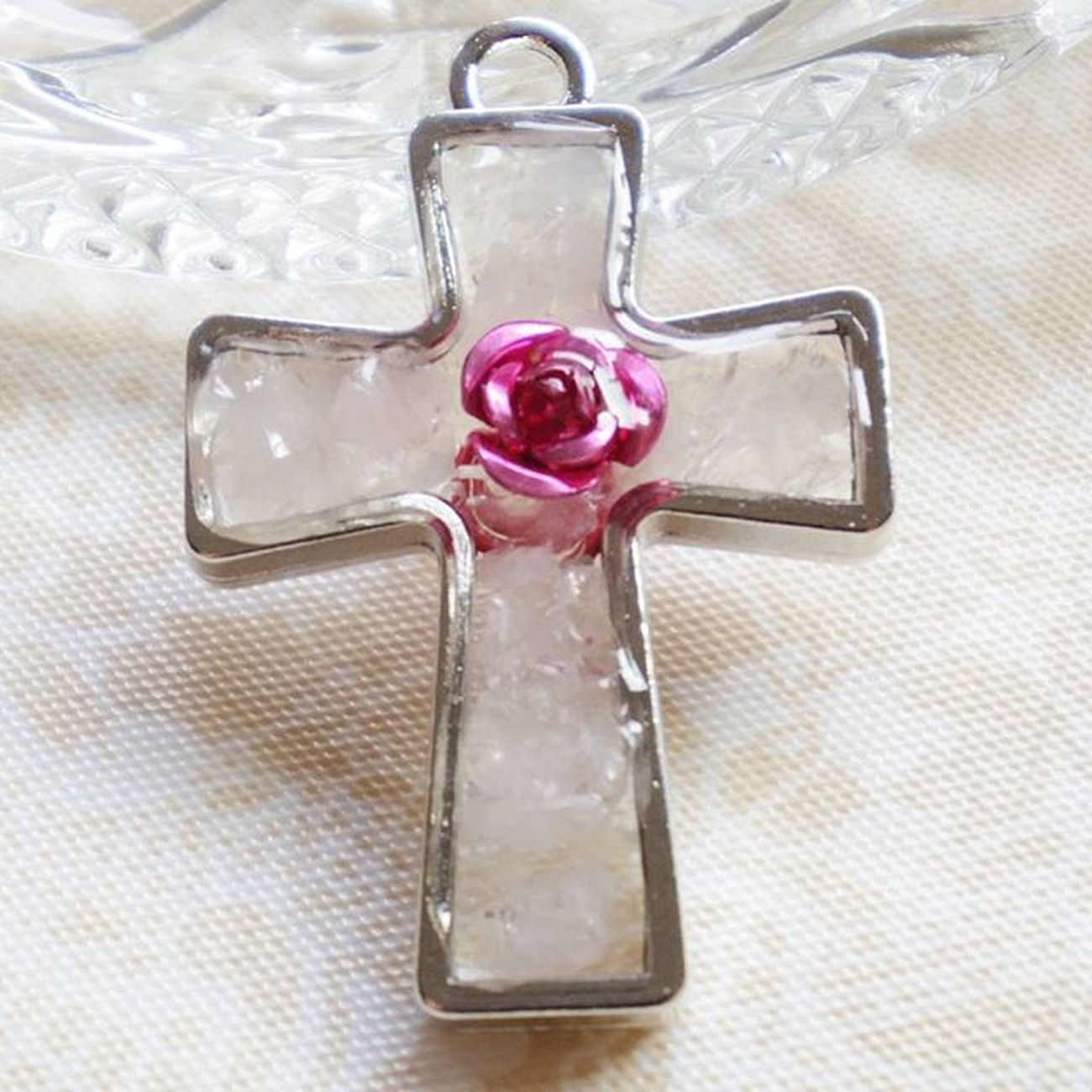 祈り Pray 薔薇 Rosé 愛 Love グロス 十字架 ロサリオ Cross Rosary オルゴナイト Orgonite ポジティブ Positive ローズクォーツ Rosequartz