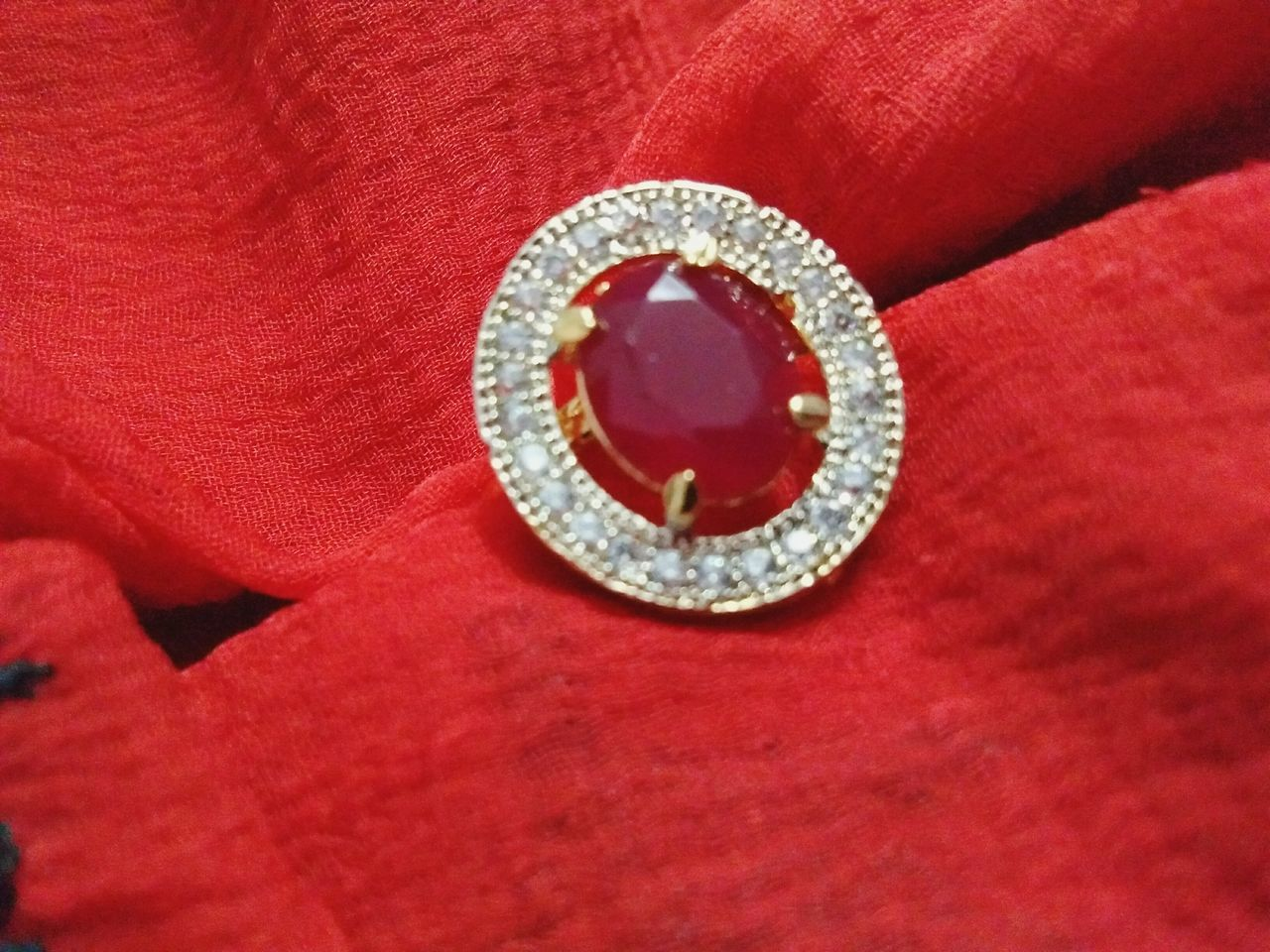 Ring Red Color Jewelry Shiny Close-up Womensfashion