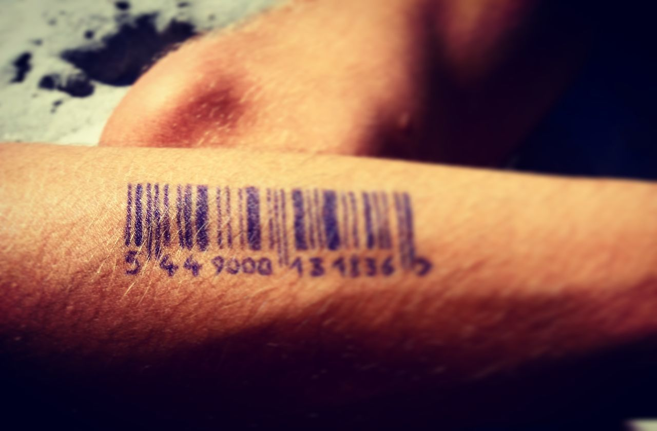 Barcode Close-up Day Drawn Human Body Part Human Finger Human Hand Indoors  Leisure Activity Lifestyles Men One Person Pen People Skin Tattoo Text
