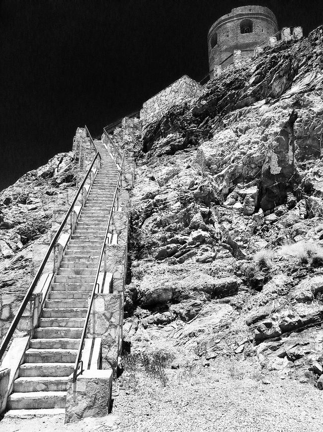 Stairs Stairway Outlook Military Outlook Black And White B&w Ominous If You Dare Turret Stone Building Samsung Oman Ruins No People Monochrome Photography