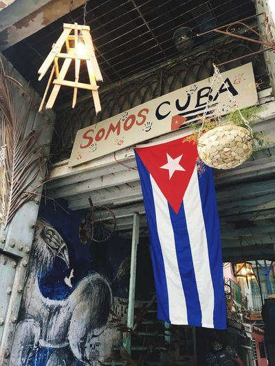 Cuba Flag Text Built Structure Day Communication Architecture Outdoors No People