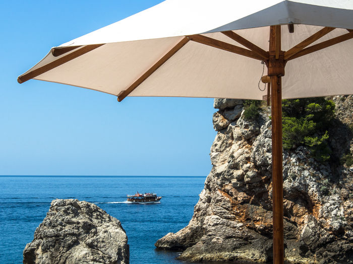 holidays Holidays Holidays In Croatia Mediterranean Sea Nature Olympus Summertime Beauty In Nature Clear Sky Cream Color Of Parasol Day Edithnerophotography Horizon Over Water No People Outdoors Parasol Rock - Object Scenics Sea Sky Summer Summer Feeling View Of The Sea Manche Water