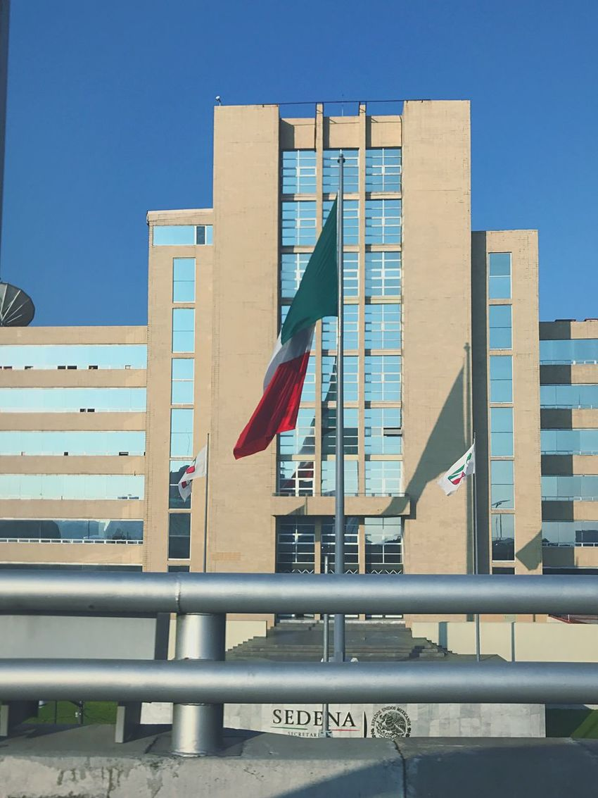 EyeEm Selects SEDENA Flag Architecture Patriotism Built Structure Building Exterior Clear Sky Day Outdoors No People City Mexico SEDENA Mexico City Military Visitmexico Bandera De Mexico Bandera Mexicanflag