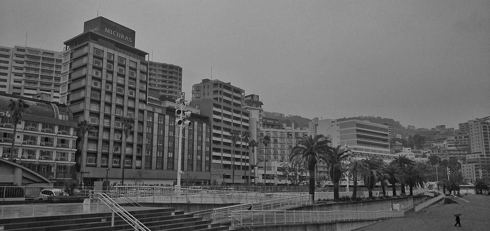 雨の熱海。Buildings In The Rain Blackandwhite Black And White Monochrome Rainy Day Cityscapes at Atami, Japan.