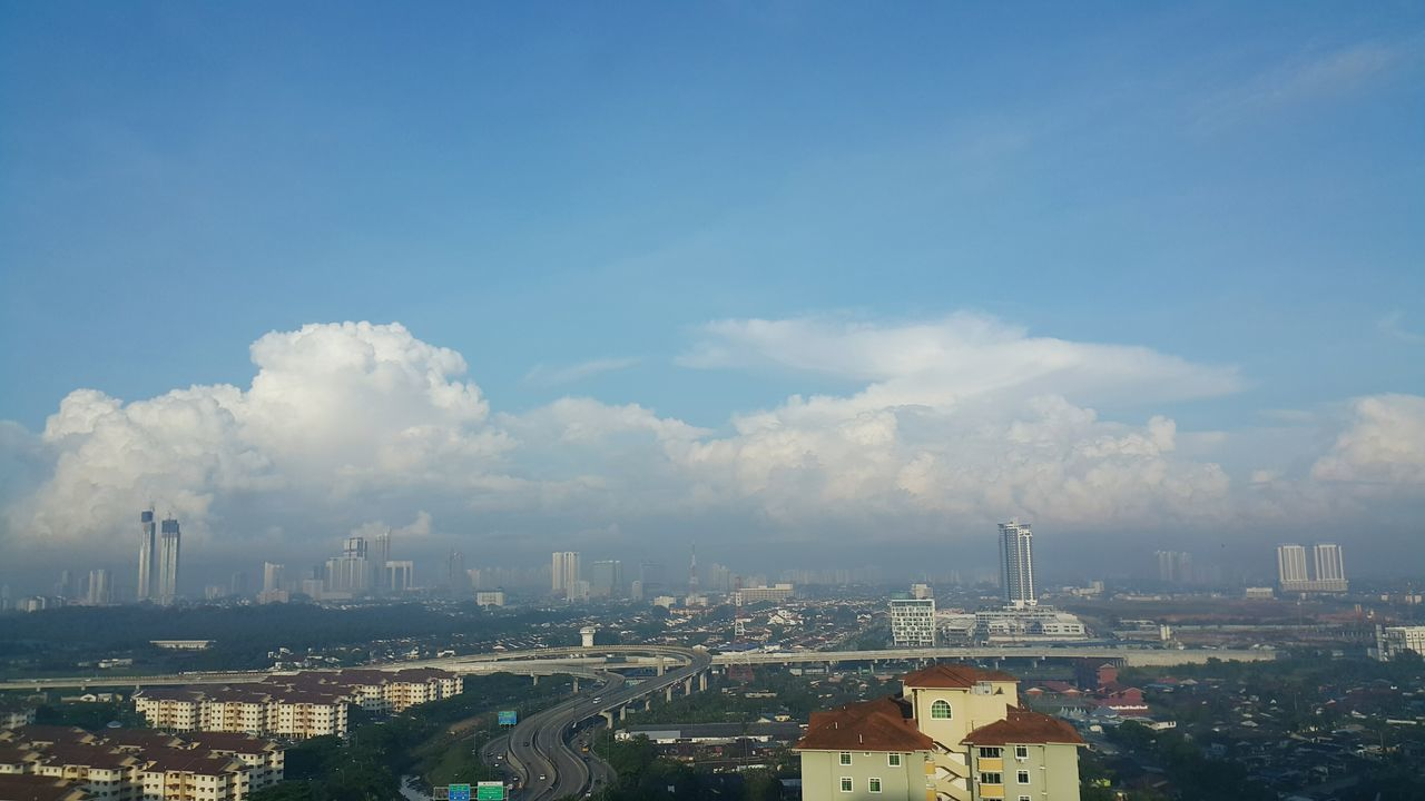 clouds and foggy morning City Cityscape Urban Skyline Skyscraper Downtown District Architecture Building Exterior Sky Business Finance And Industry City Life Outdoors No People Travel Destinations Day Modern Johor, Malaysia Johor Bahru