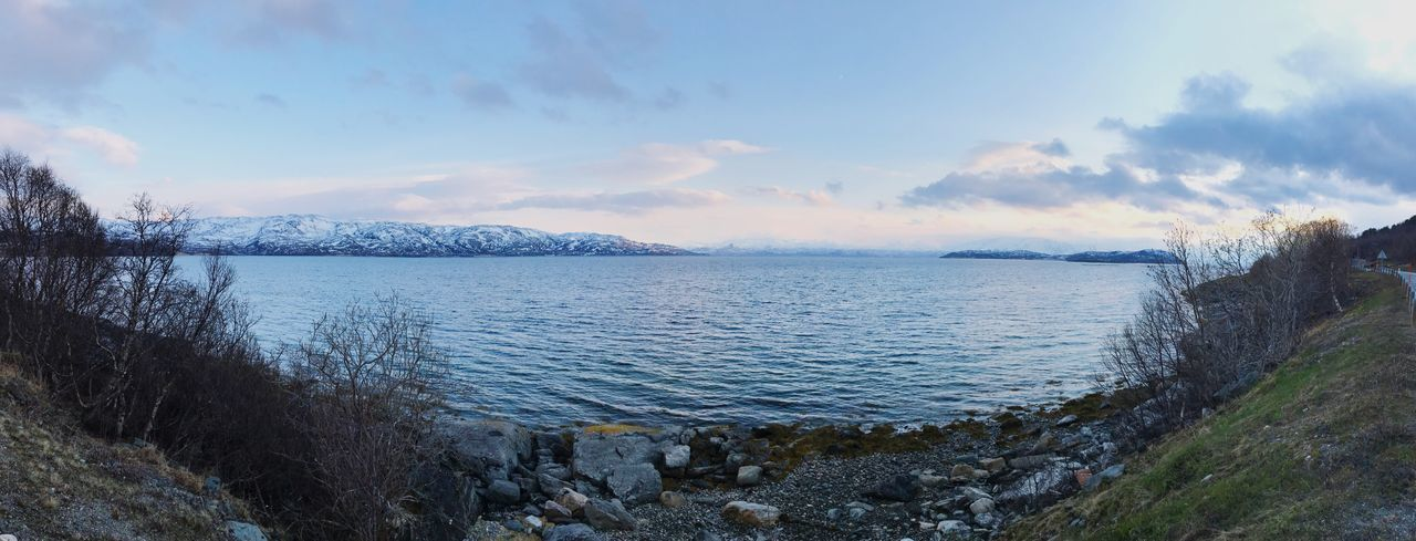 Beauty In Nature Water Nature Sky Tranquil Scene Cloud - Sky Mountain Outdoors Idyllic Ocean Seascape Panorama Panoramic Photography Finnmark Norway Norwegian Landscape Norwegian Photographer Scandinavian Photographer Nature Photography