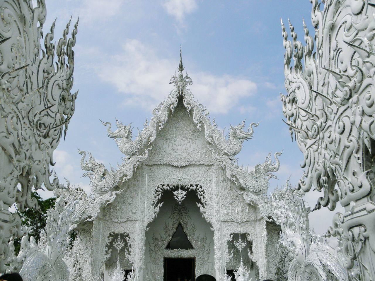 Rong Khun or White Church Temple. Way to heaven. Chiang Rai. TH. Architecture Ornate BUDDHISM IS LOVE Travelling Thailand Travel Destinations Place Of Worship Arts Culture And Entertainment Illuminated Luxury Buddhism Culture Buddhist Temple Outdoors Building Exterior Spirituality Religion Beauty Tradition Landscape Thailand Temple No People Full Frame Sculpture White Church Architecture Focus On Foreground